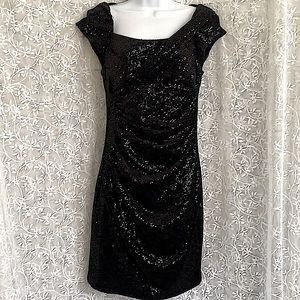 Jessica Simpson Micro-Sequin Black Evening Dress